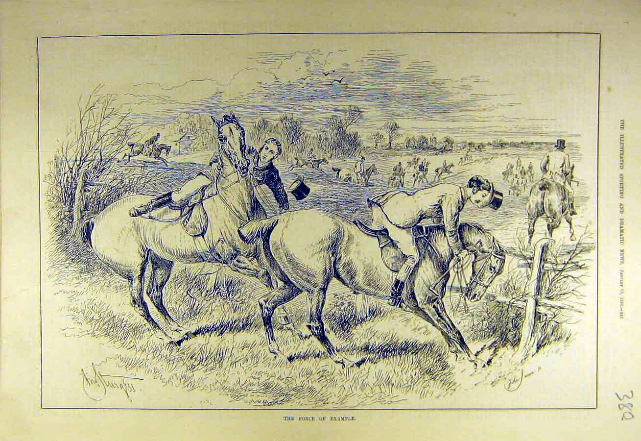 Print 1883 Jump Force-Example Hunters Riders Fence Refusal 808731 Old Original