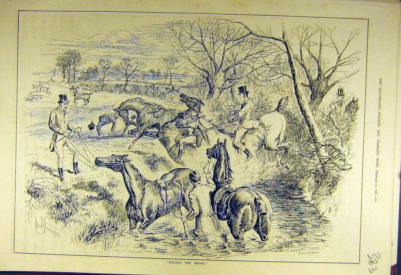 Print 1883 Filling-Brook Horses Hunters Ditch Hunting 838731 Old Original