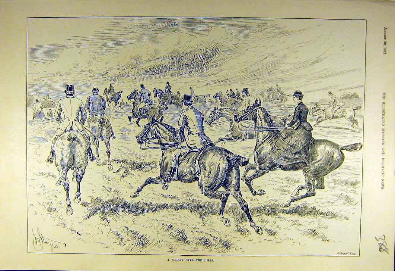 Print 1892 Scurry Hunters Hunting Gallop Horses Riders Hunt 888731 Old Original