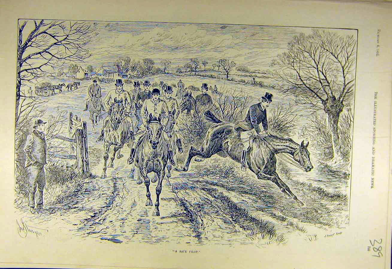 Print 1892 Safe-Pilot Hunters Hunting Riders Gallop 898731 Old Original