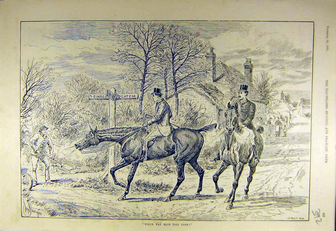 Print 1891 Hunters Lost Horses Riders Hunt Hunting 928731 Old Original