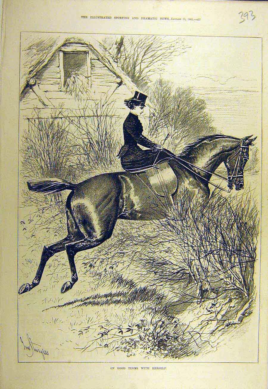 Print 1881 Lady Rider Hunter Hunting Horse Sketch 938731 Old Original