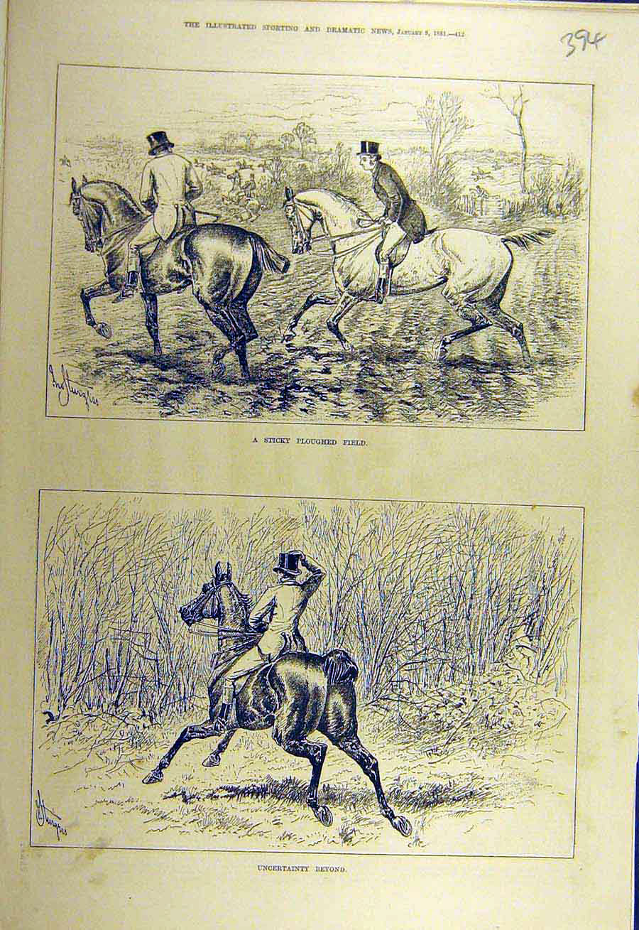 Print 1881 Ploughed-Field Hunters Hunting Horses Riders 948731 Old Original