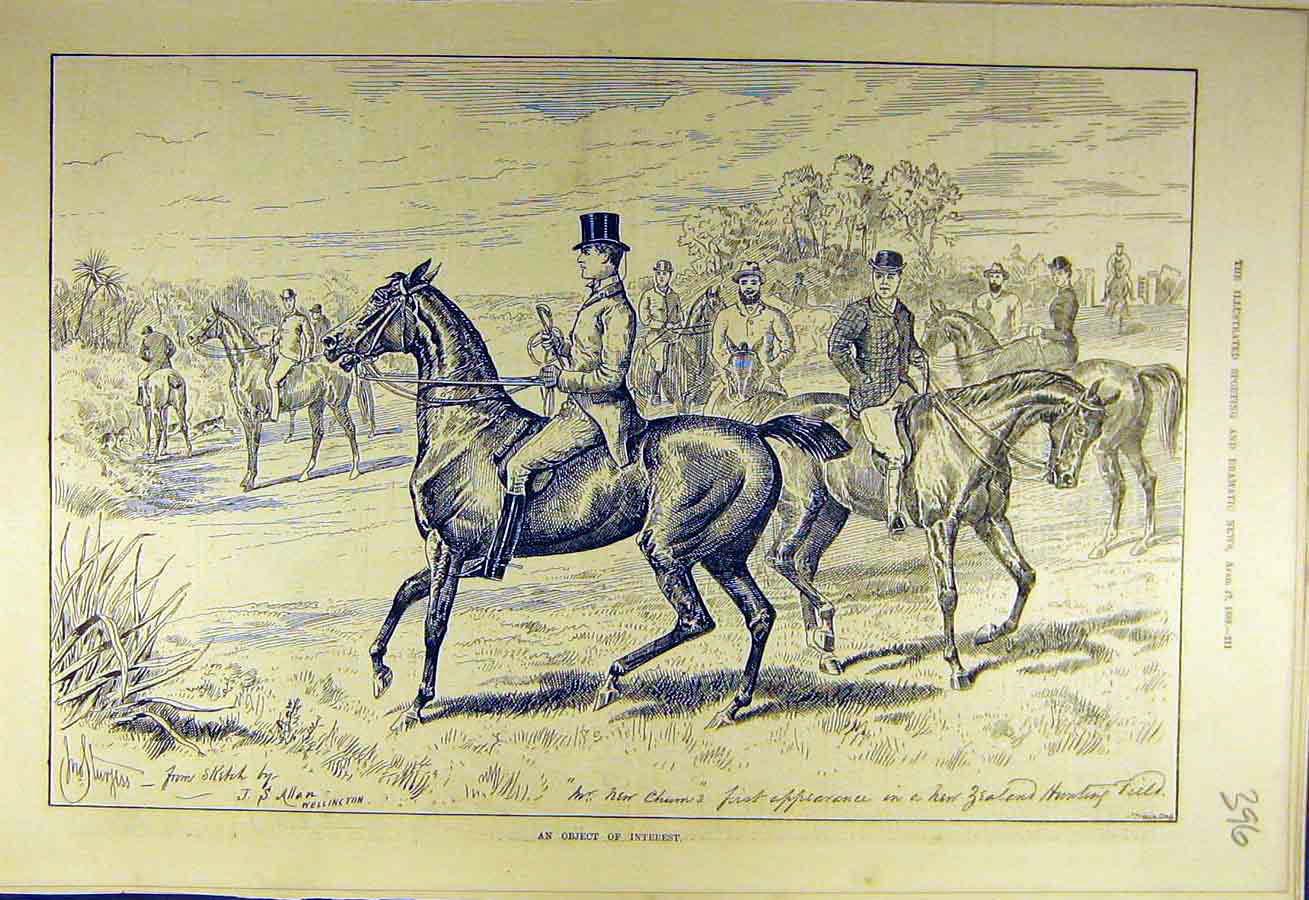 Print 1889 Zealand Hunting Field Horses Riders Hunters 968731 Old Original