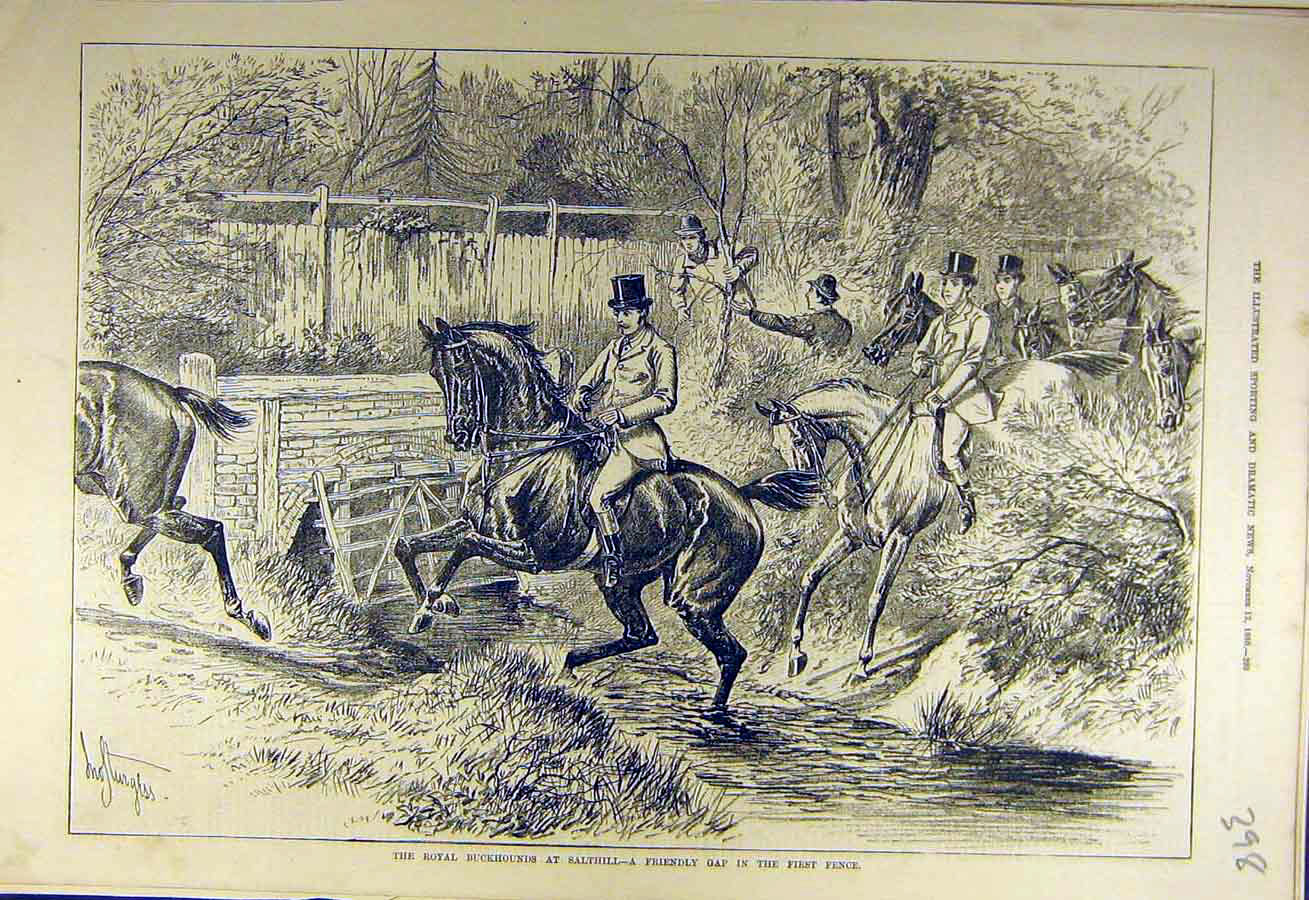Print 1880 Royal Buckhounds Salthill Fence River Hunters Hunt 988731 Old Original