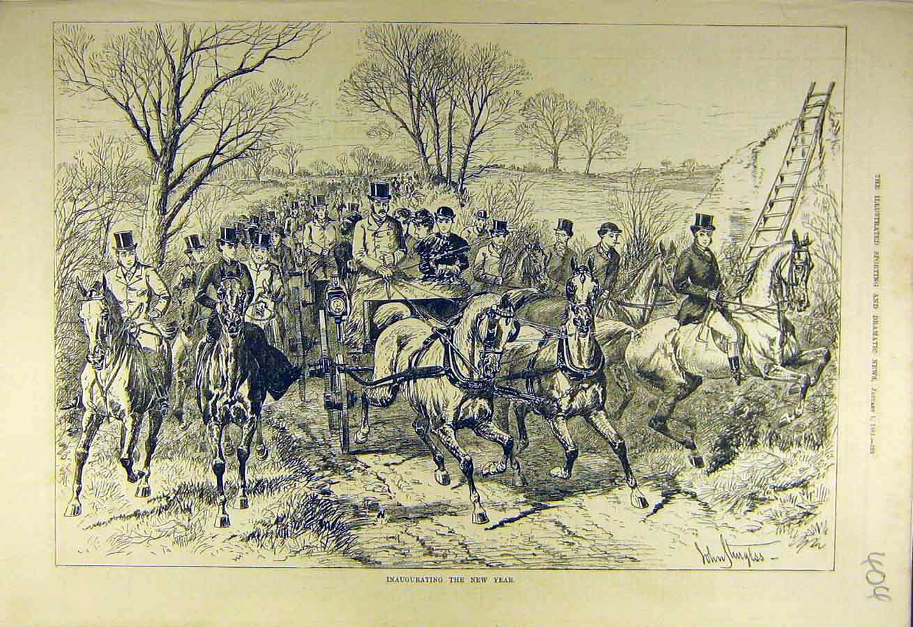 Print 1881 New-Year Hunt Hunters Carriage Hunting 048731 Old Original