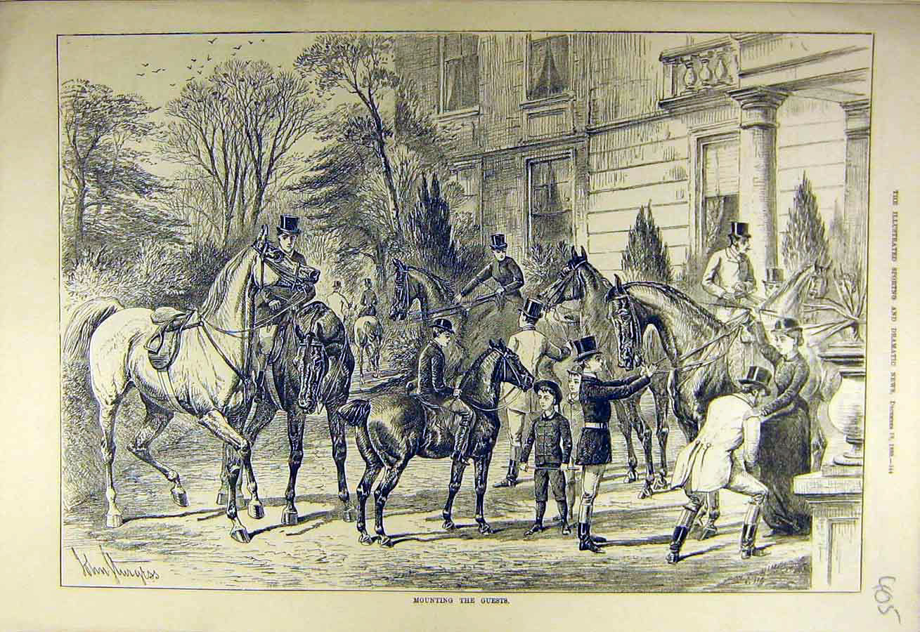 Print 1880 Mounting Guests Hunters Hunting Hunt 058731 Old Original