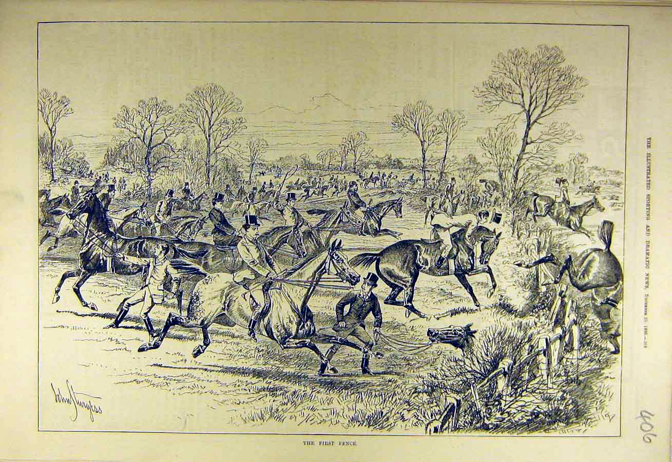 Print 1880 First-Fence Hunting Horses Riders Hunters 068731 Old Original