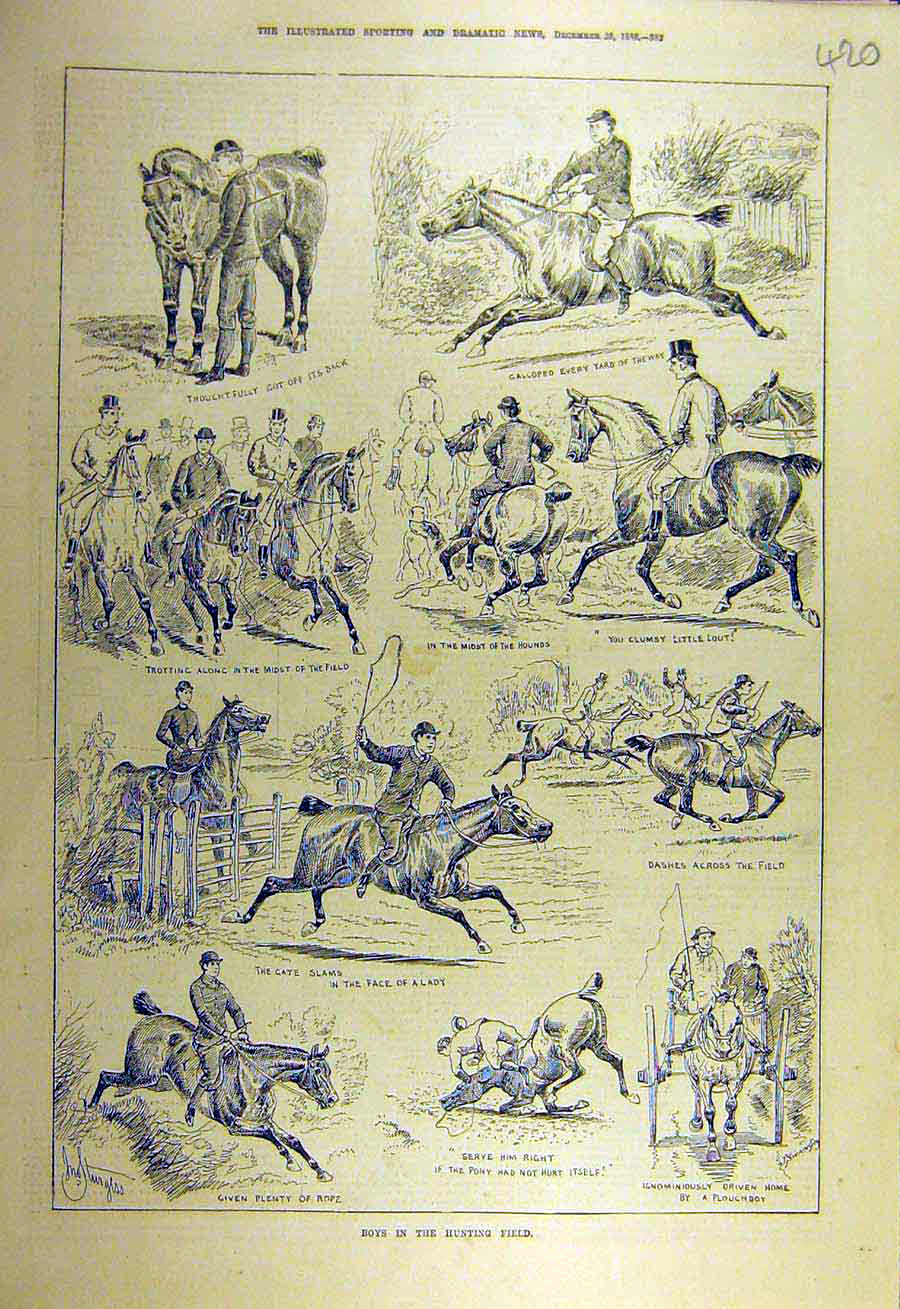 Print 1886 Boys Hunting-Field Hunters Sketches 208731 Old Original