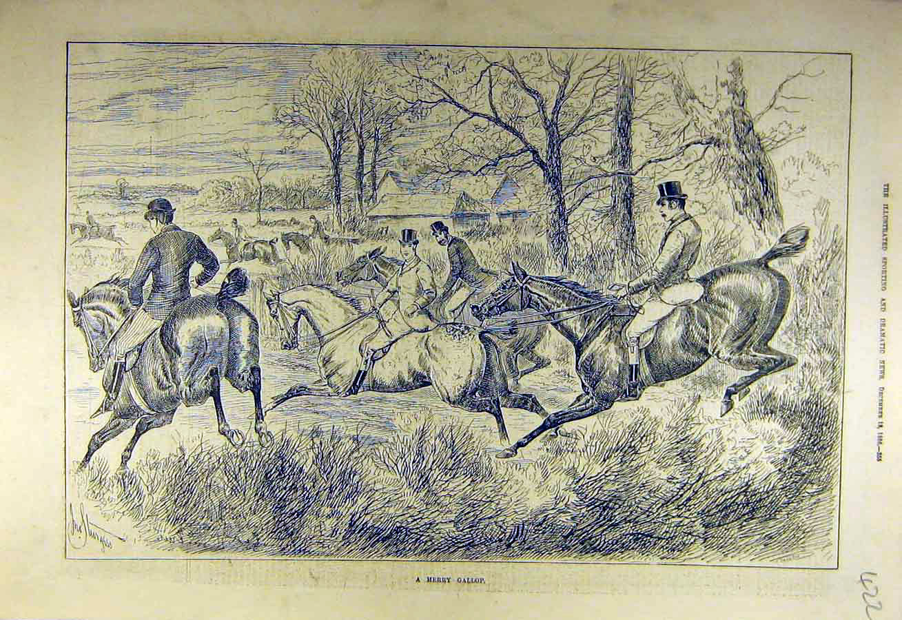Print 1886 Merry Gallop Hunting Hunters Riders Hunt 228731 Old Original