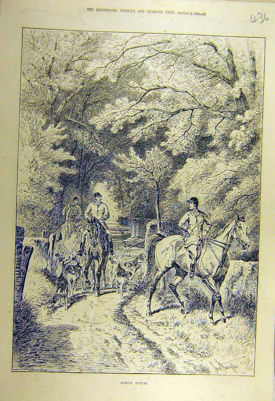 Print 1886 Hunters Hounds Hunting Forest Woods Riders 368731 Old Original