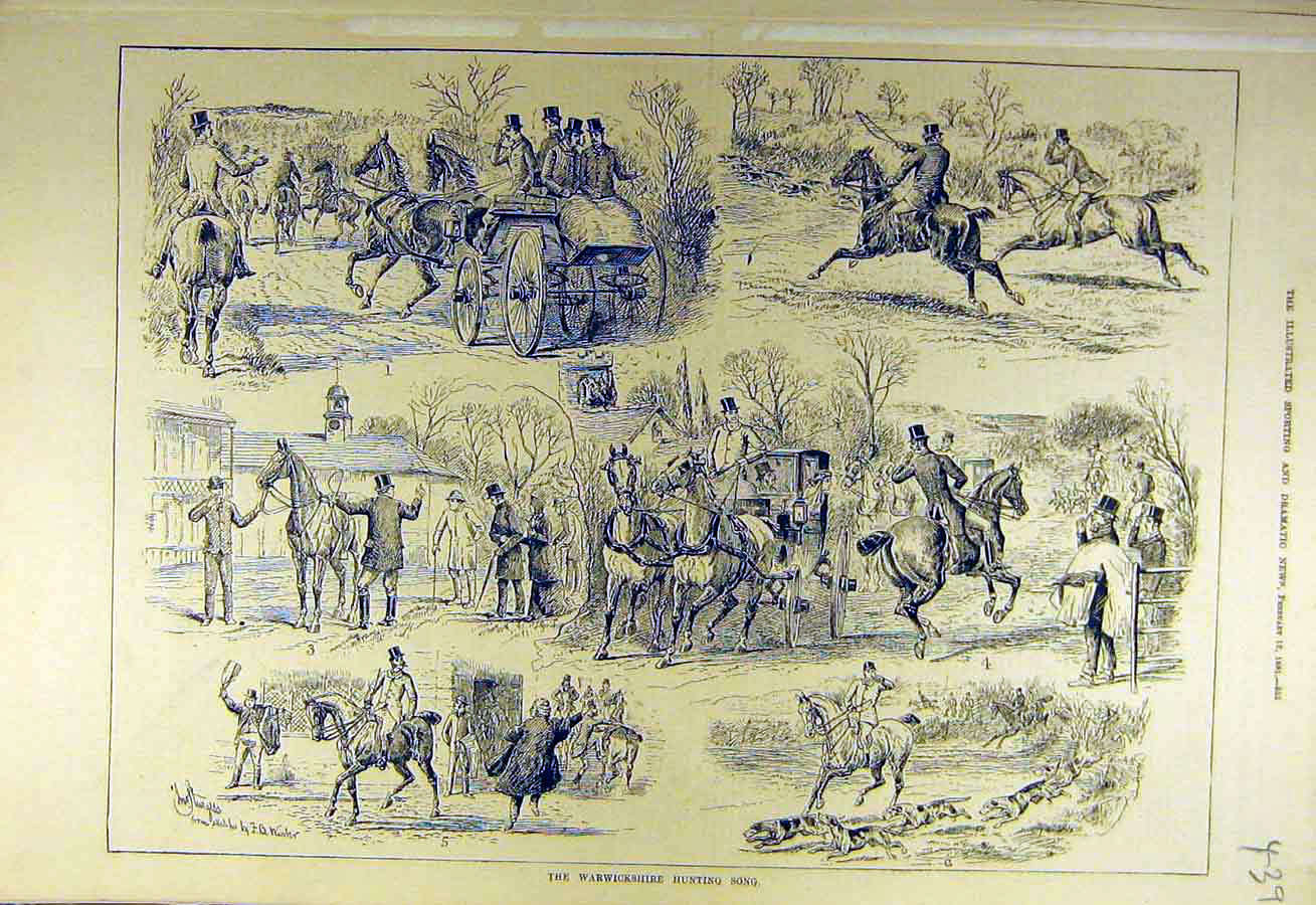 Print 1881 Warwickshire Hunting Song Sketches Hunters Hunt 398731 Old Original