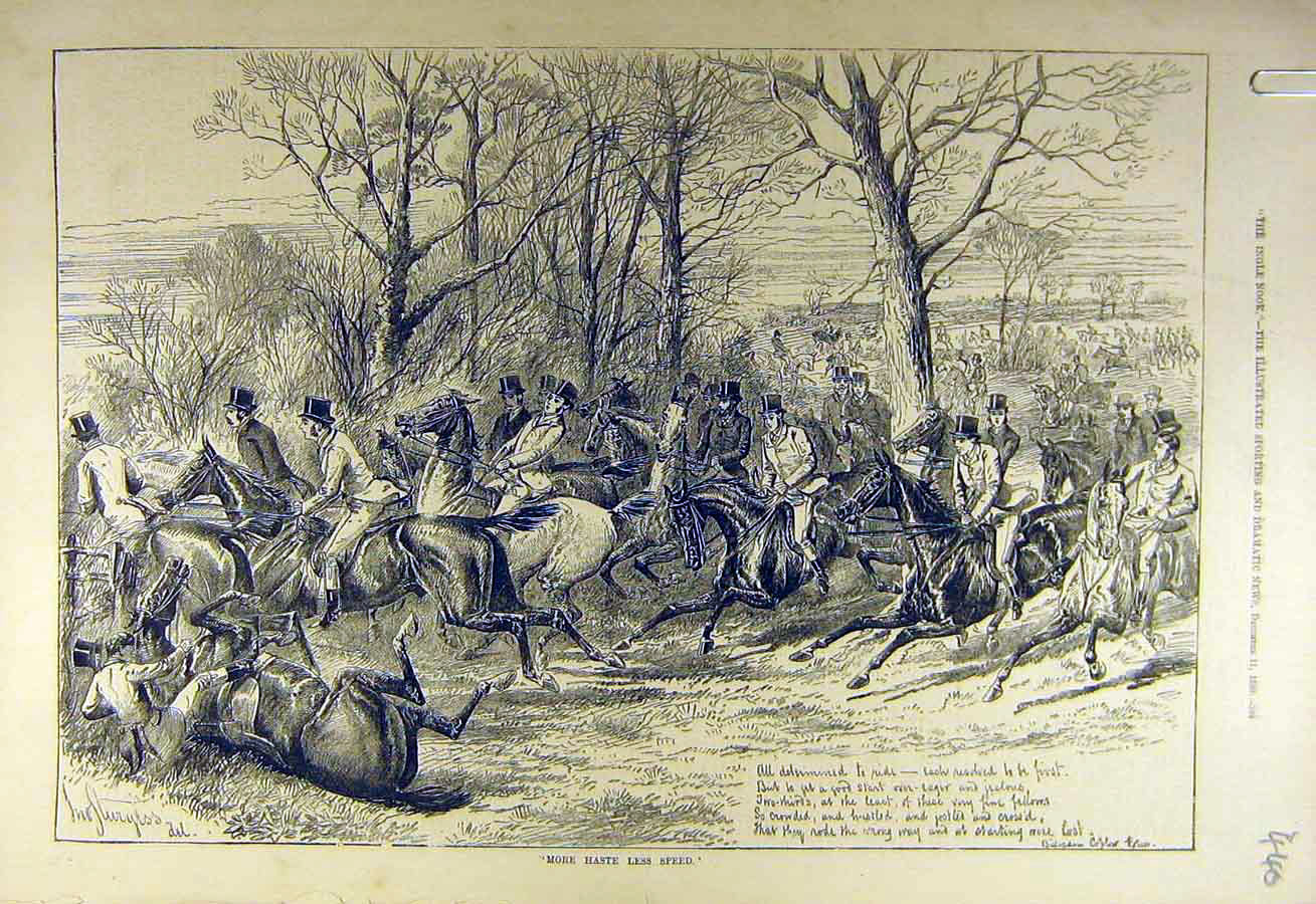 Print 1880 Haste-Speed Hunters Hunting Riders Hunt 408731 Old Original