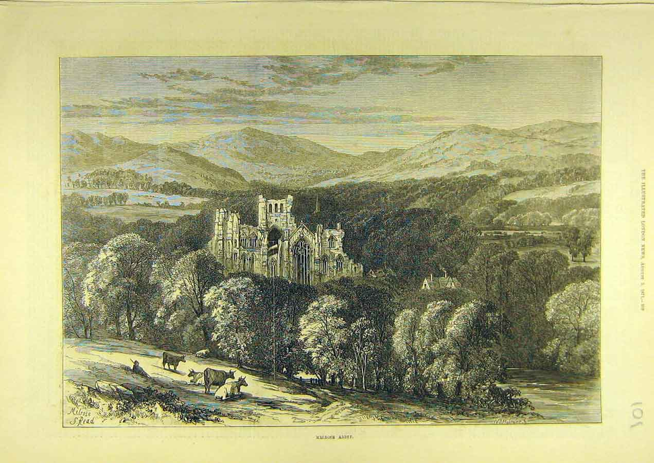 Print 1871 Melrose Abbey Building Scotland Scottish 018741 Old Original