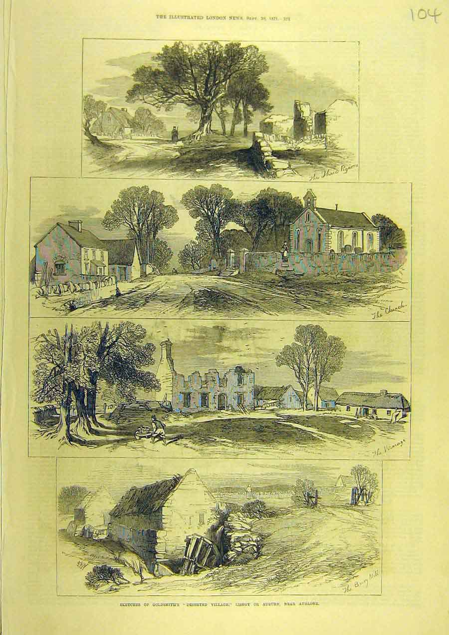 Print 1871 Sketch Goldsmith Deserted-Village Lishoy Athlone 048741 Old Original