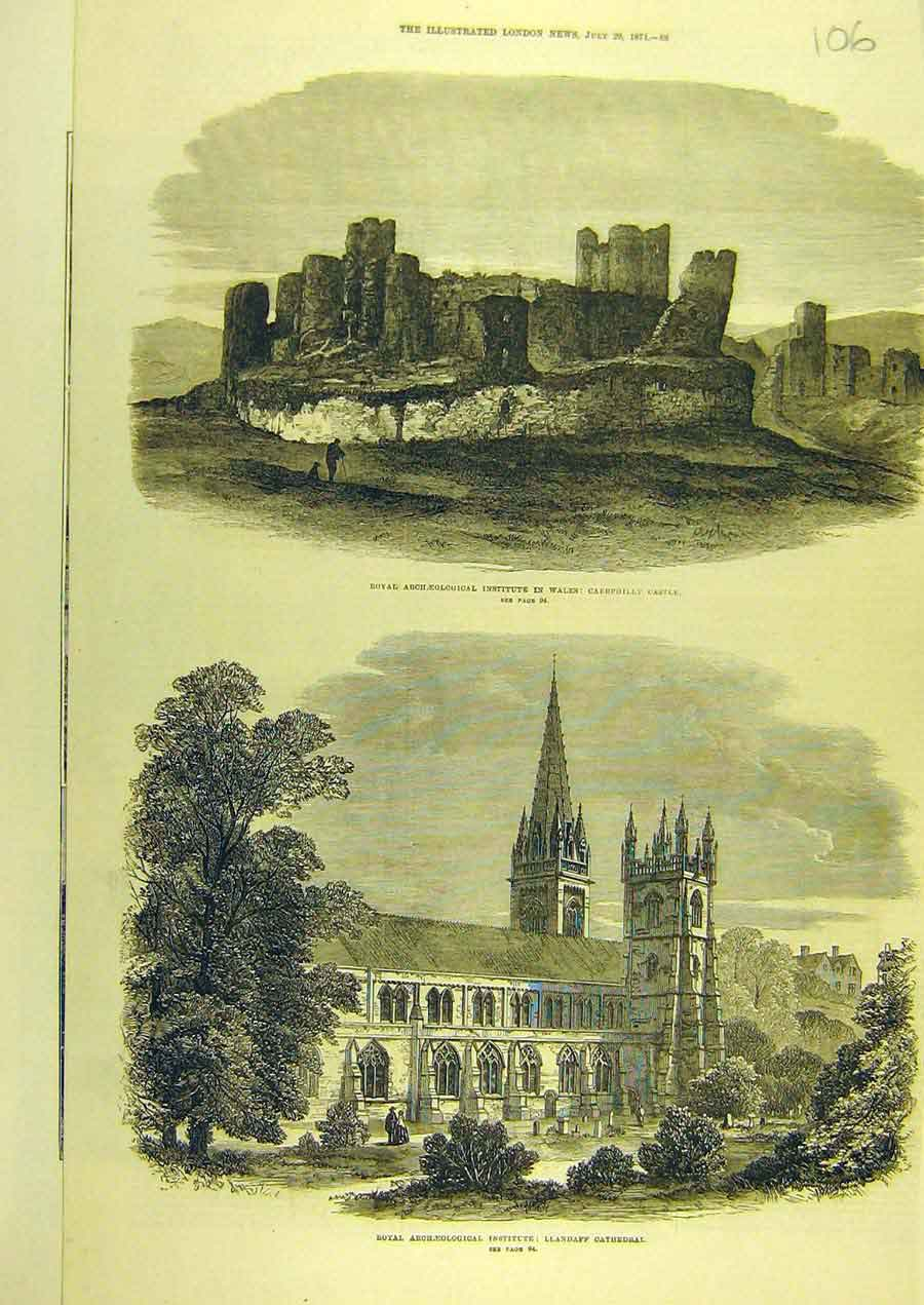 Print 1871 Wales Caerphilly Castle Llandaff Cathedral 068741 Old Original
