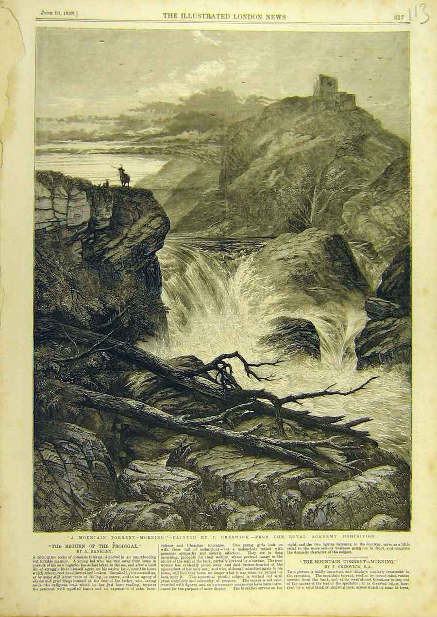 Print 1858 Creswick Fine Art Mountain Torrent River 138741 Old Original