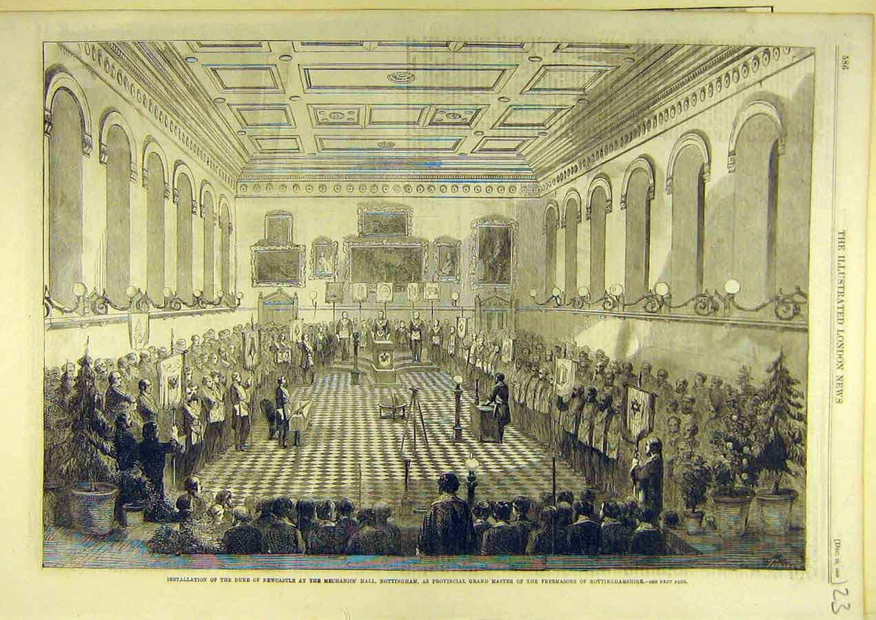 Print 1860 Duke Newcastle Mechanic'S Hall Nottingham 238741 Old Original