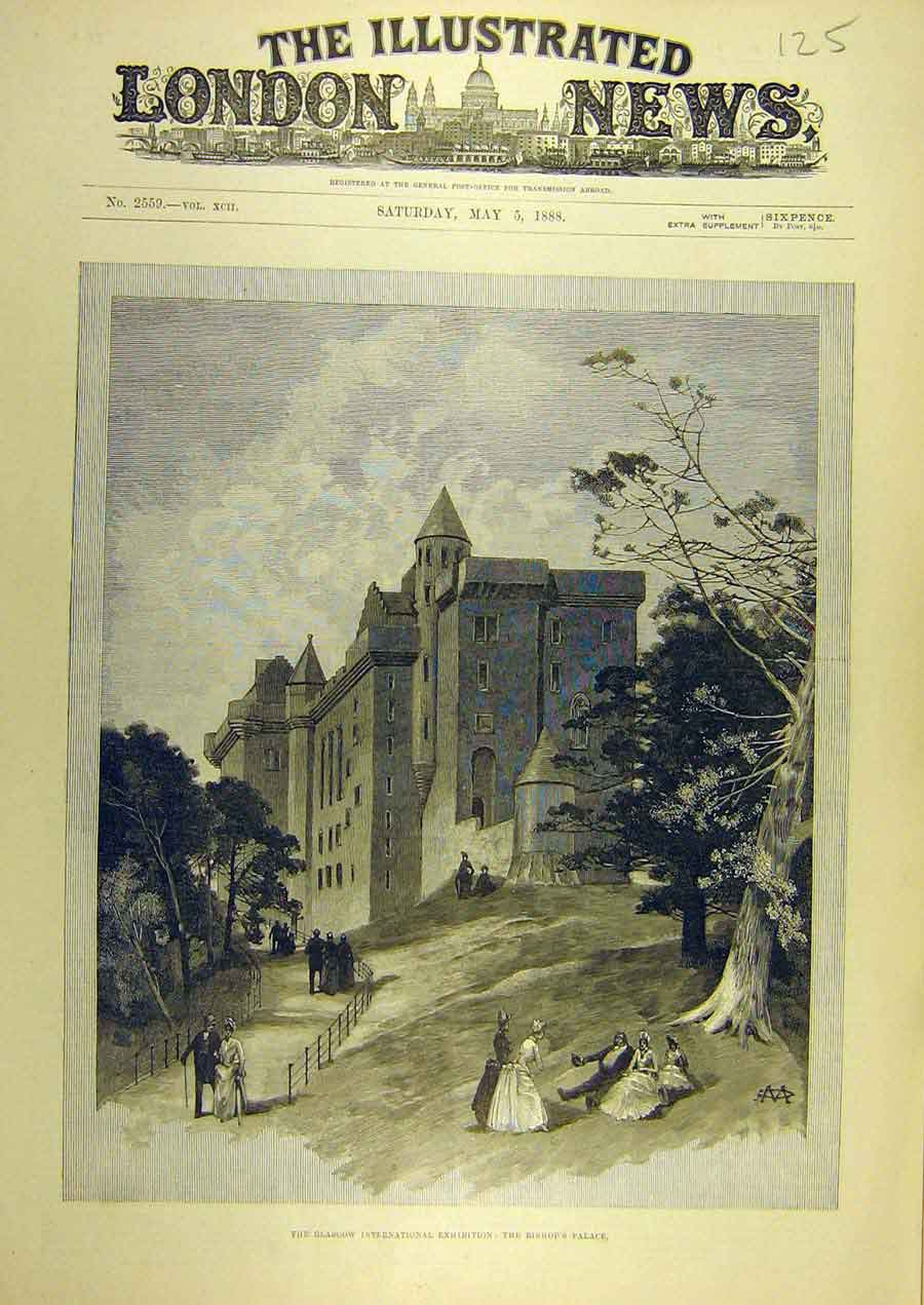 Print 1888 Glasgow Exhibition Bishop'S Palace Scotland 258741 Old Original
