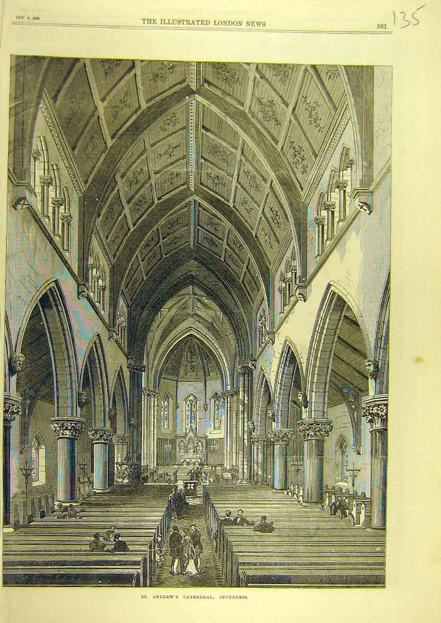 Print 1869 St. Andrew'S Cathedral Inverness Building Scotland 358741 Old Original