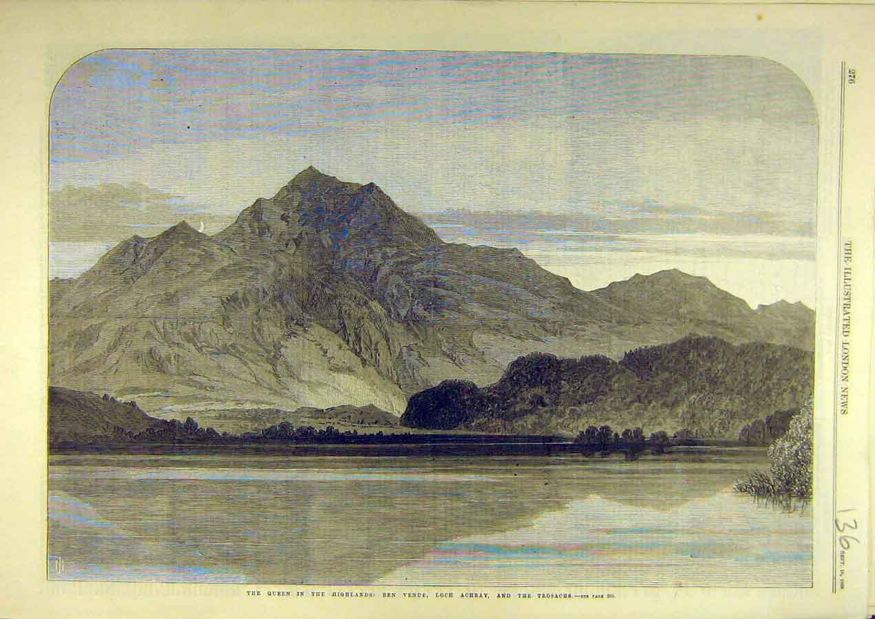 Print 1869 Queen Highlands Ben Venue Loch Achray Trosachs 368741 Old Original