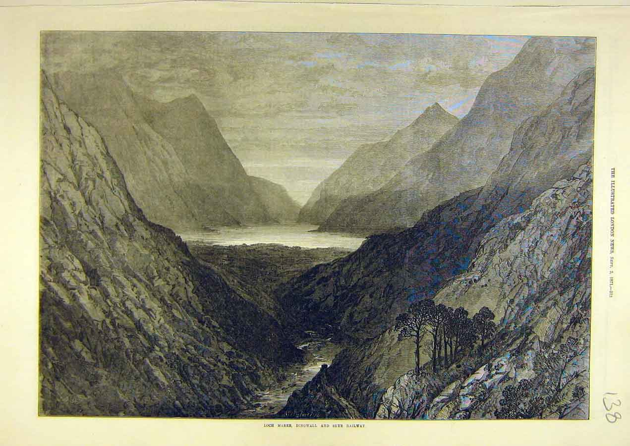 Print 1871 Loch-Maree Dingwall Skye Railway View Sketch 388741 Old Original