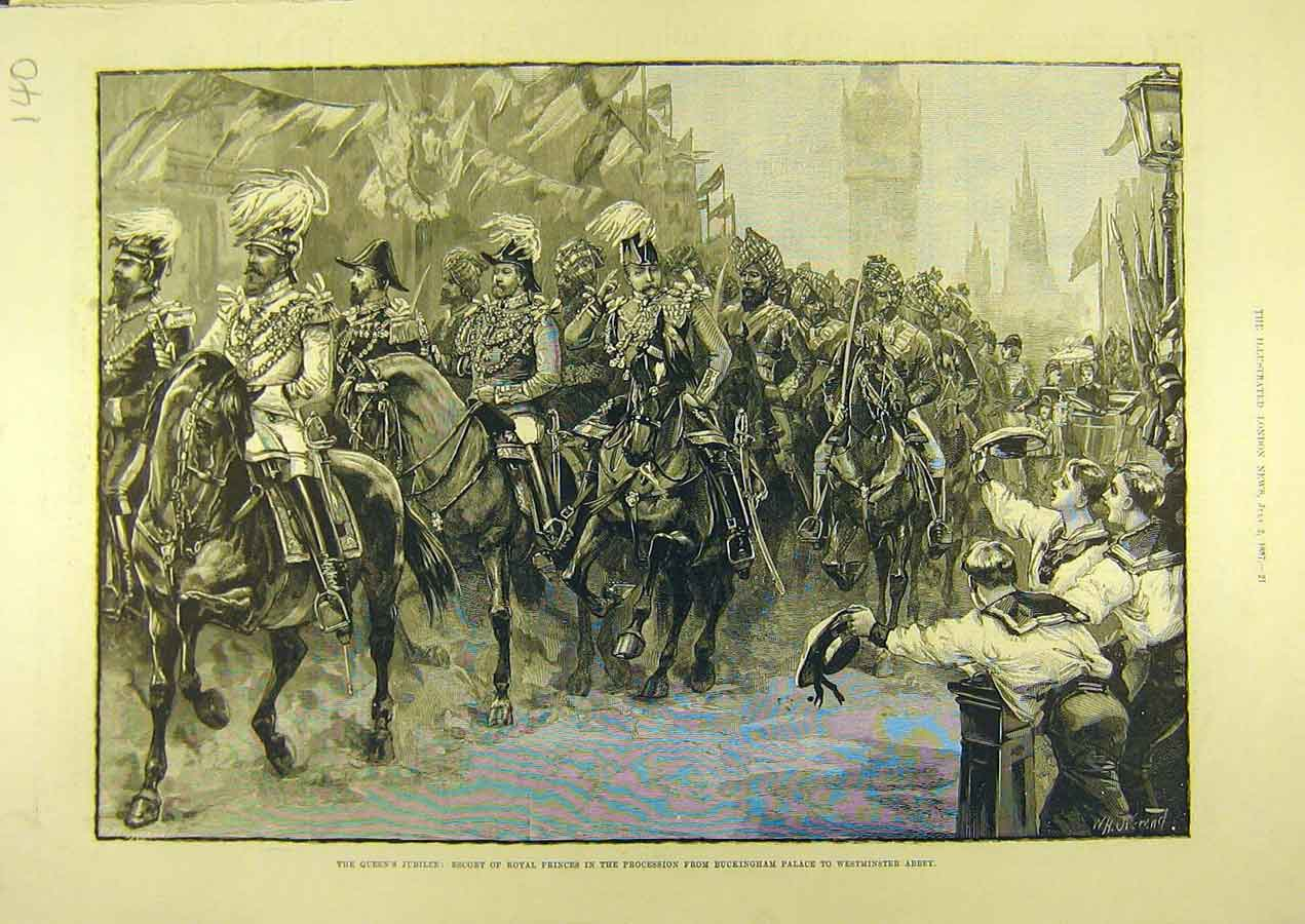 Print 1887 Royal Prince Procession Queen Jubilee London 408741 Old Original