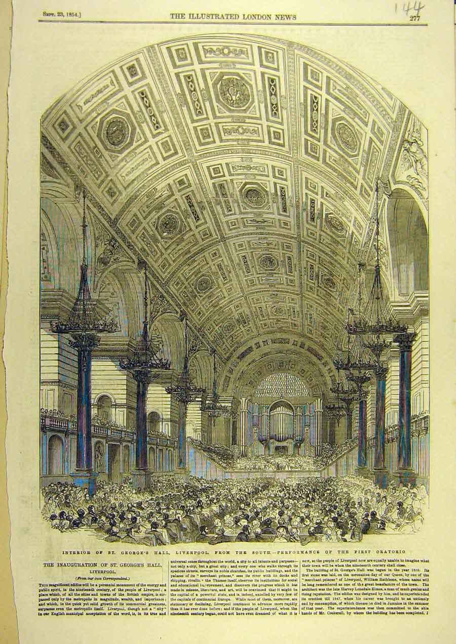Print 1854 St. George'S Hall Liverpool Oratorio Building 448741 Old Original