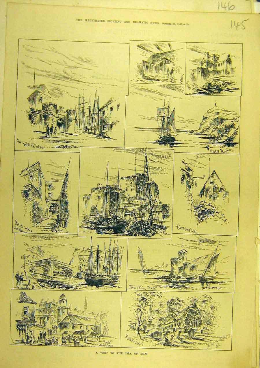 Print 1882 Isle-Of-Man Sketches Douglas 458741 Old Original