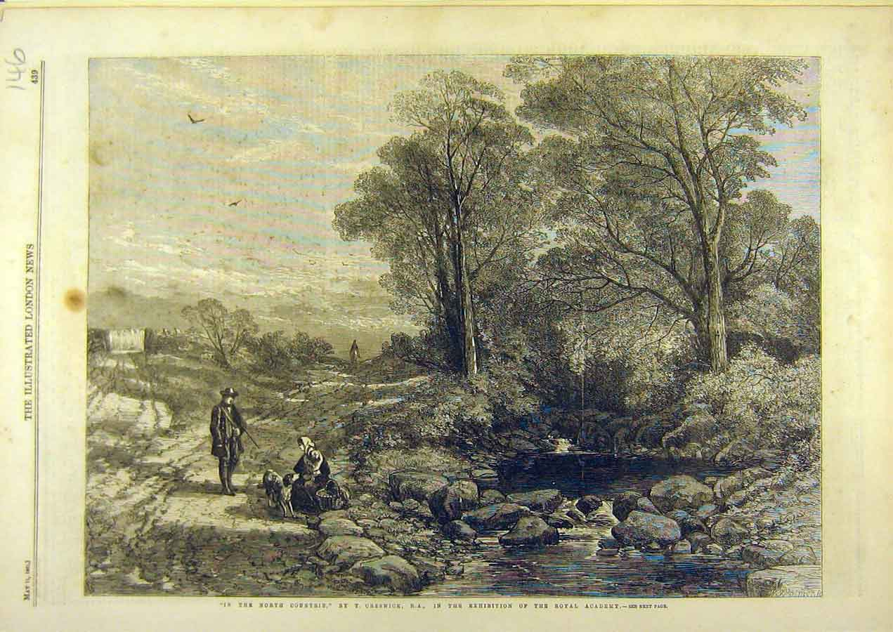 Print 1861 North Countrie Creswick Country Fine Art 468741 Old Original