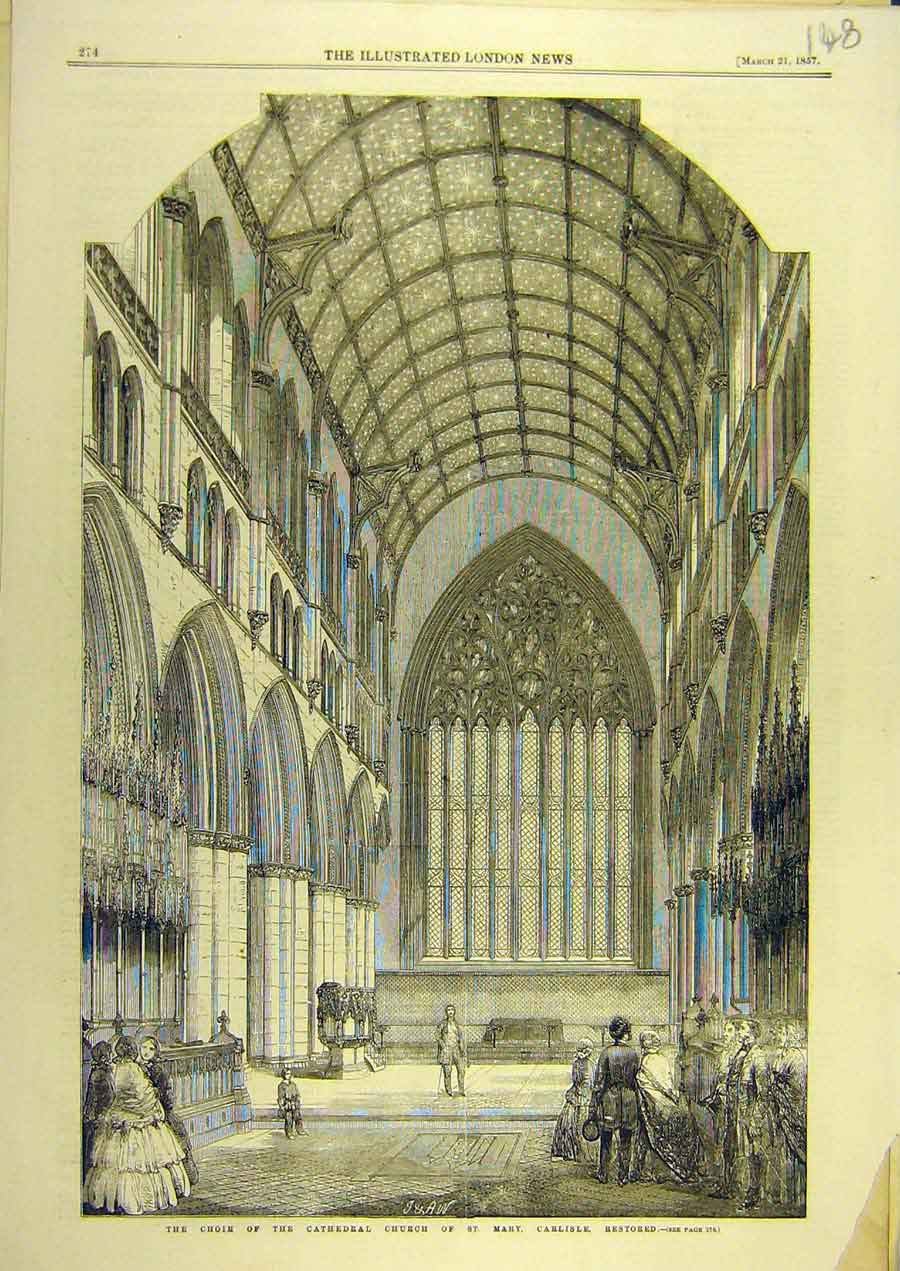 Print 1857 Choir Cathedral Church St. Mary Carlisle Building 488741 Old Original