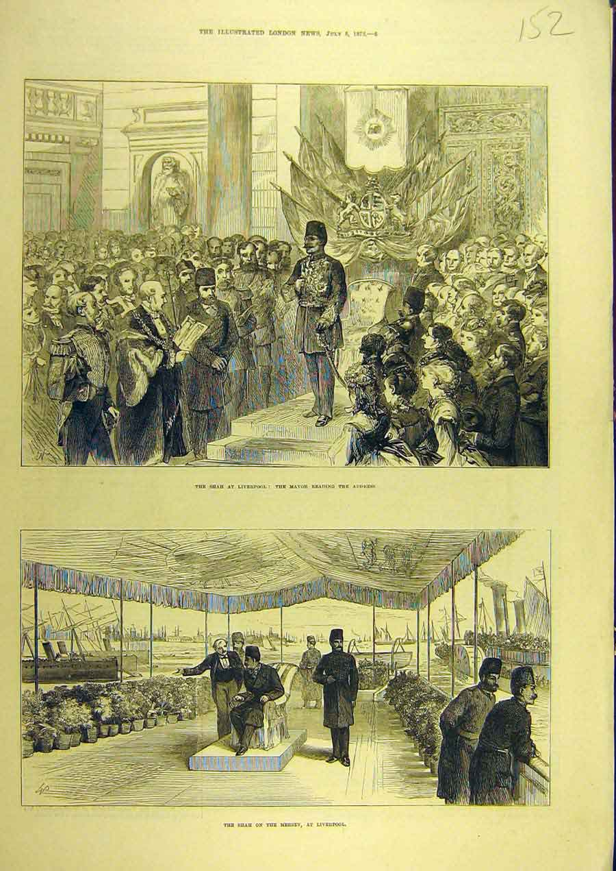 Print 1873 Shah Liverpool Mayor Address Mersey Visit 528741 Old Original