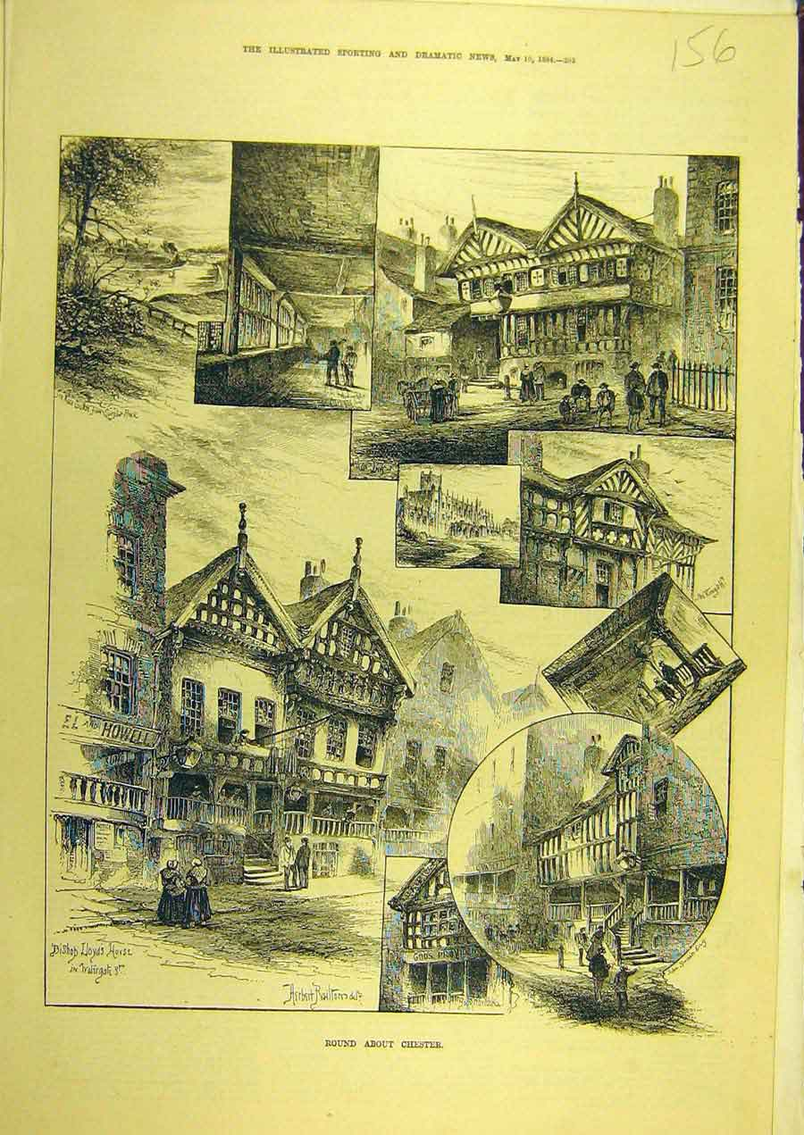 Print 1884 Chester Sketches Building Street Social History 568741 Old Original