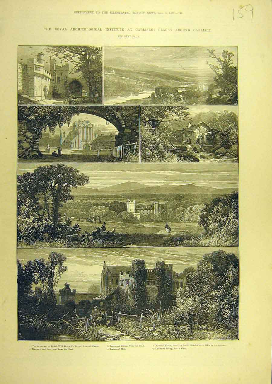 Print 1882 Royal Archeological Carlisle Lanecrost Naworth 598741 Old Original