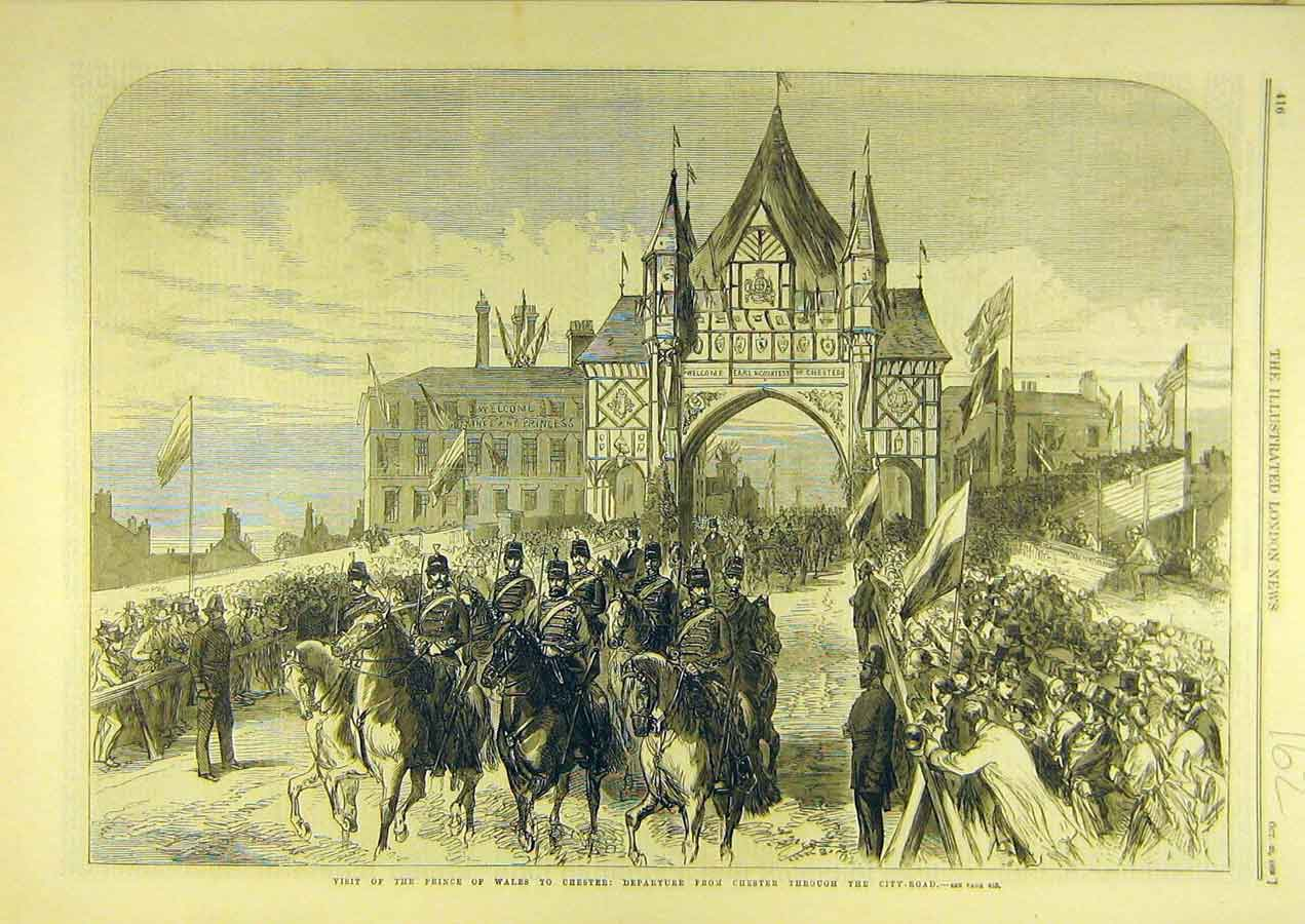 Print 1869 Prince Wales Chester Visit Royal City-Road 628741 Old Original