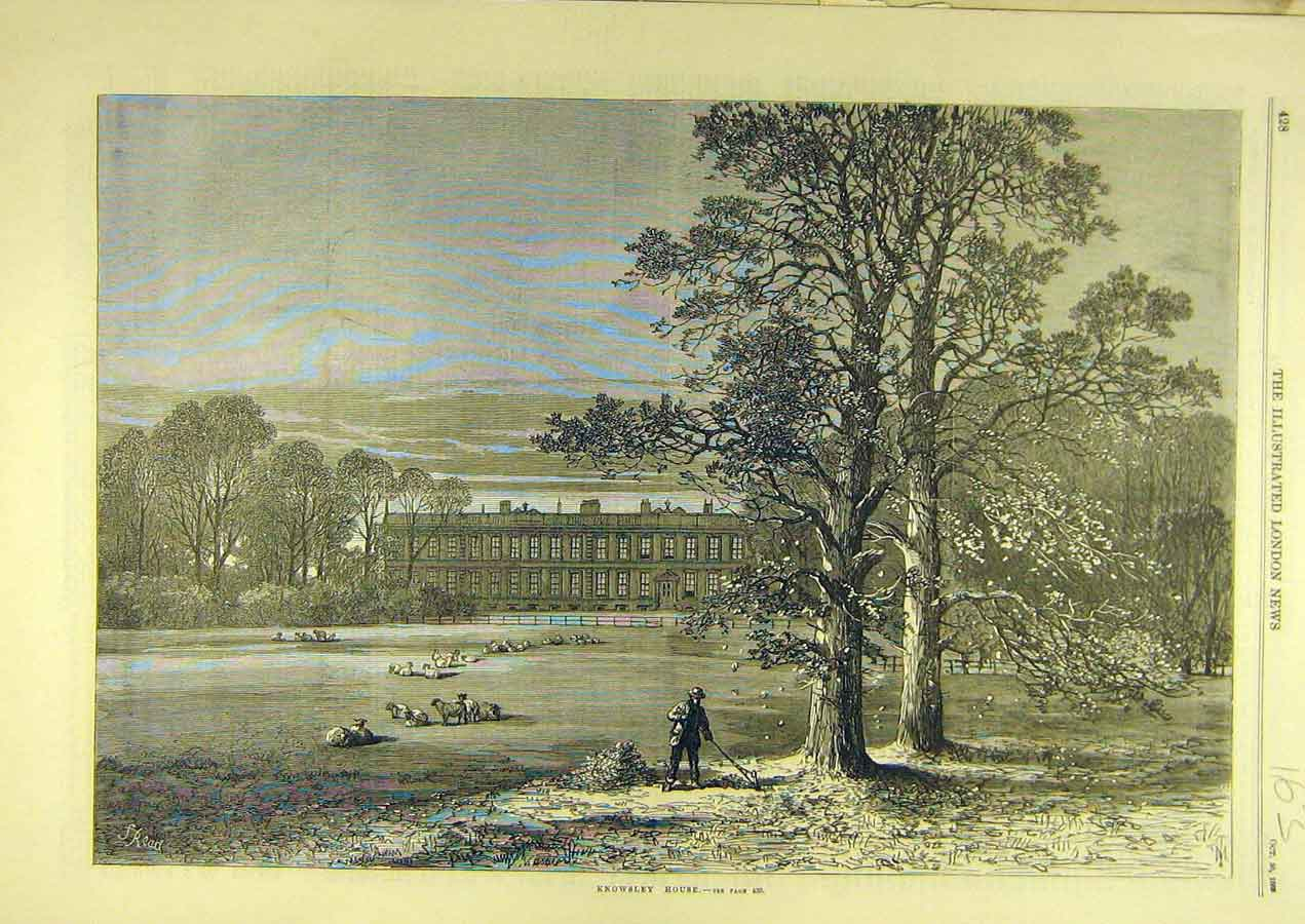 Print 1869 Knowsley House Building Sketch Architecture 638741 Old Original