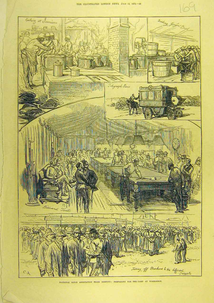 Print 1873 Rifle Asscociation Wimbledon Meeting Sketches 698741 Old Original