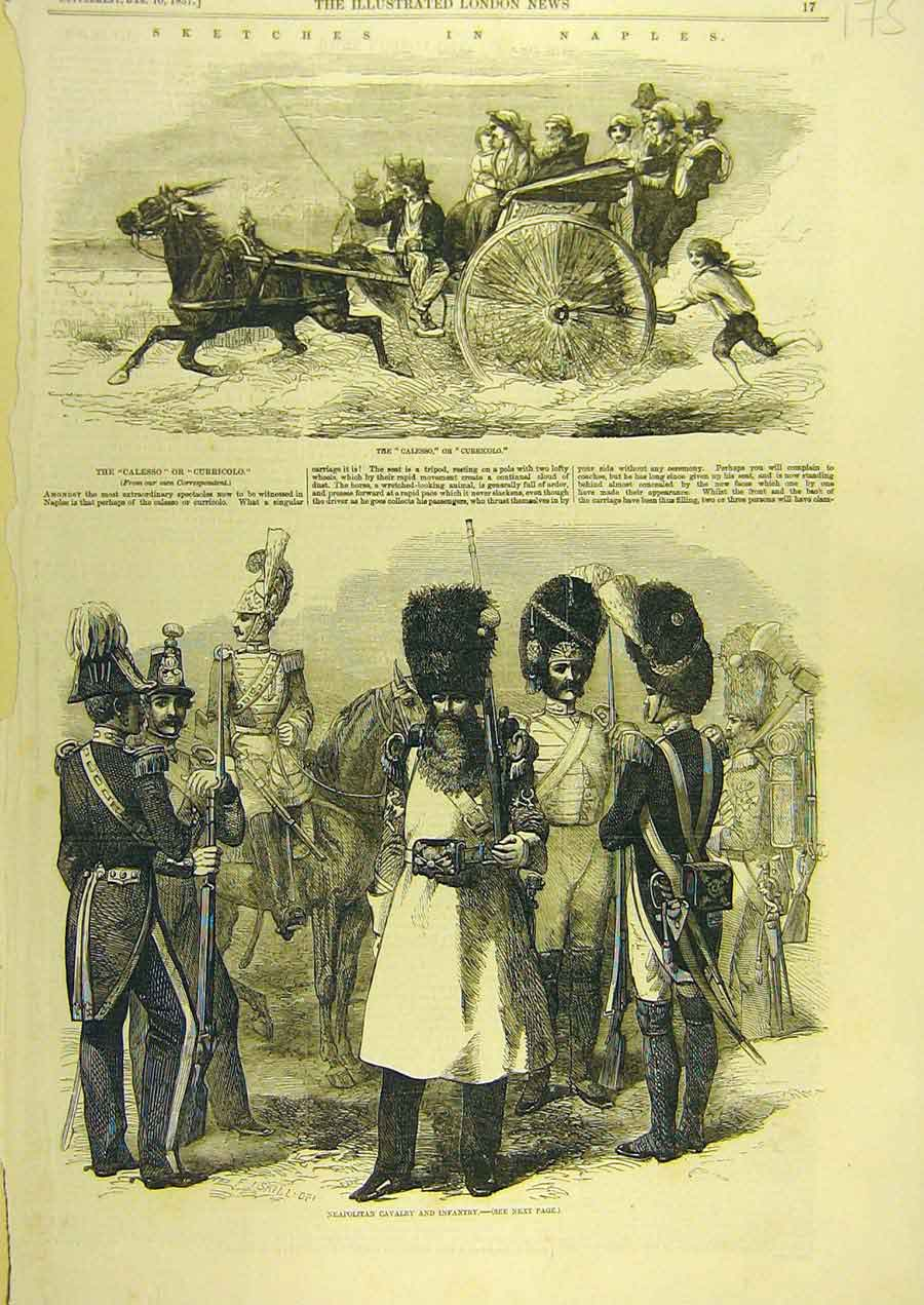 Print 1857 Naples Sketch Calesso Neapolitan Cavalry Infantry 758741 Old Original