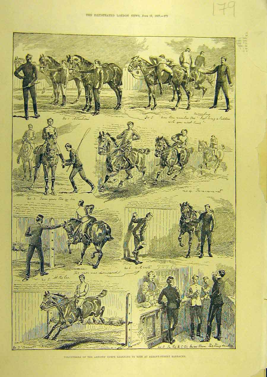 Print 1887 Volunteers Artist'S Corps Riding Albany-Street 798741 Old Original
