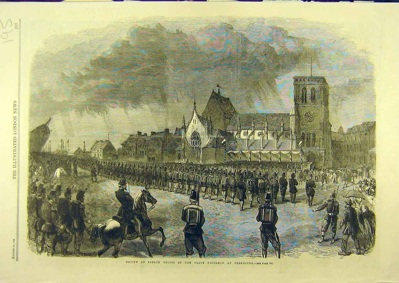 Print 1865 Review French Troops Cherbourg Place-Napoleon 958741 Old Original