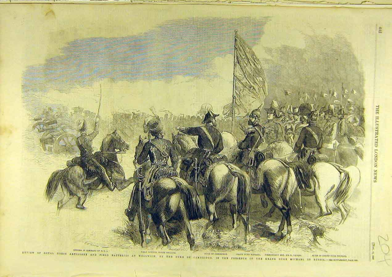 Print 1860 Horse Artillery Field Battery Woolwich Review 048741 Old Original