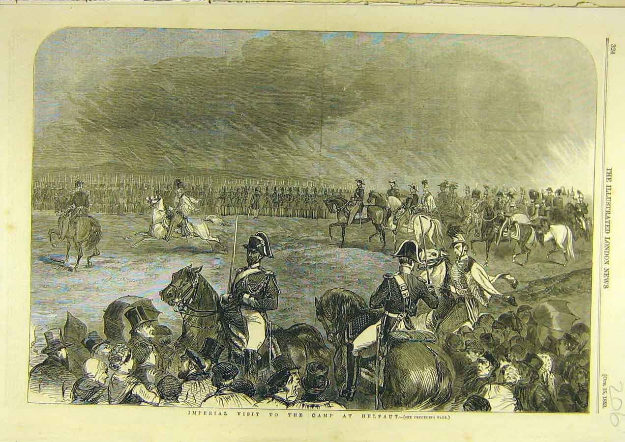 Print 1853 Imperial Visit Camp Helfaut Military 068741 Old Original