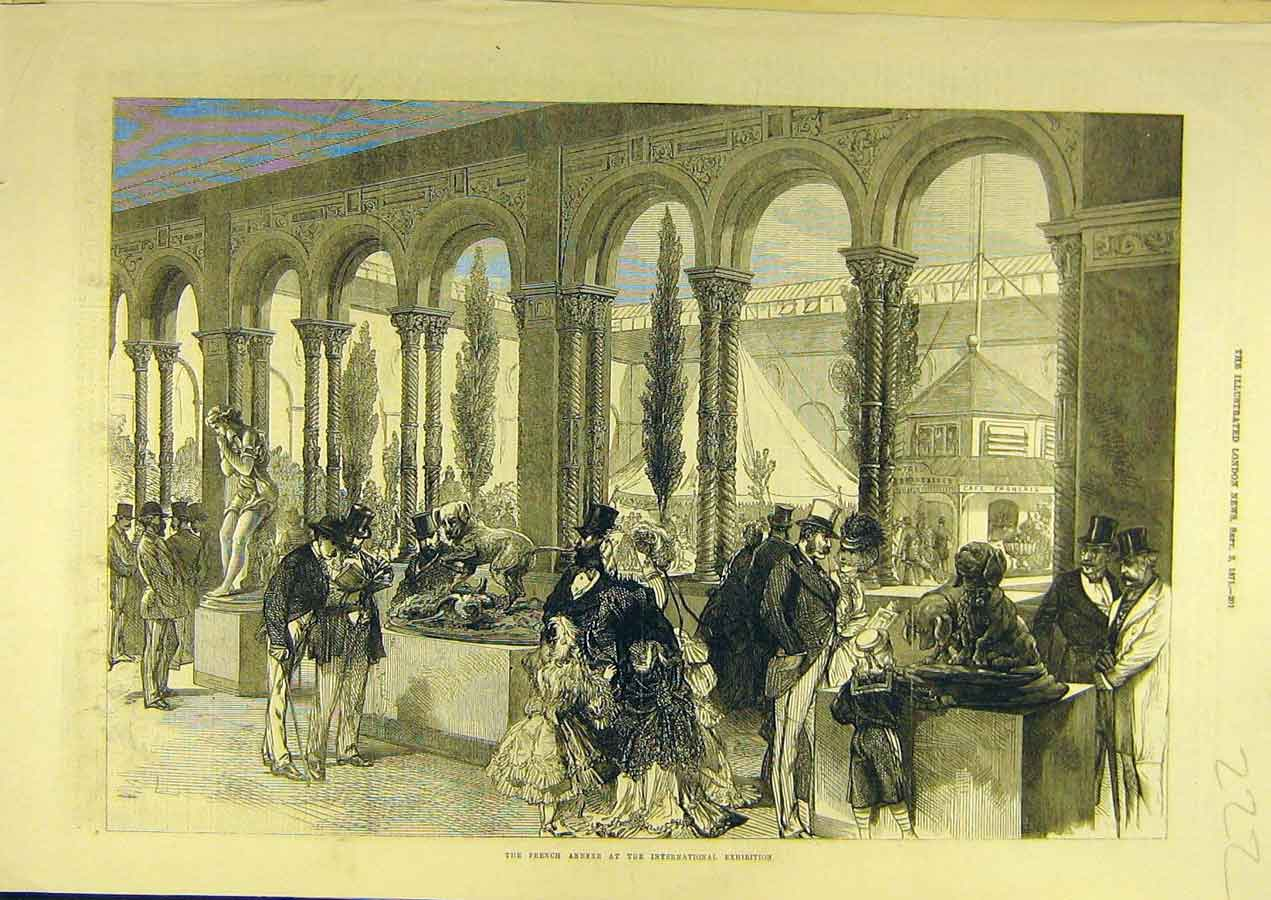 Print 1871 French Annexe International Exhibition Exhibits 228741 Old Original