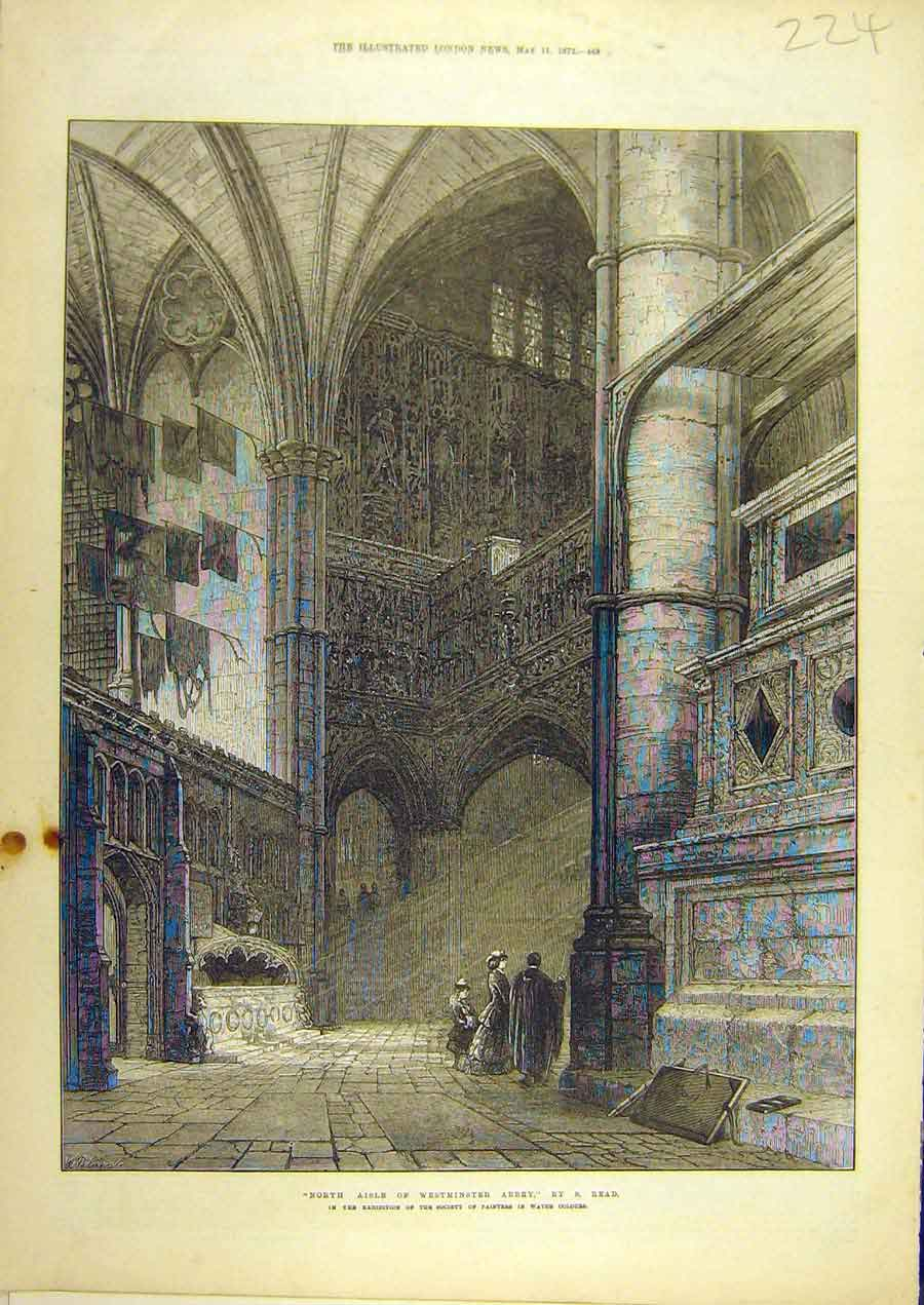 Print 1872 Westminster Abbey North-Aisle Read Building 248741 Old Original