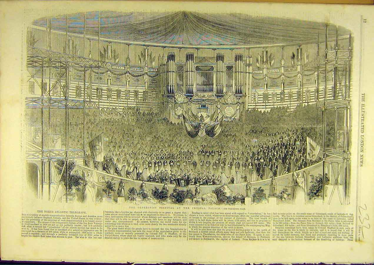Print 1860 Orpheonist Festival Crystal Palace Social History 328741 Old Original