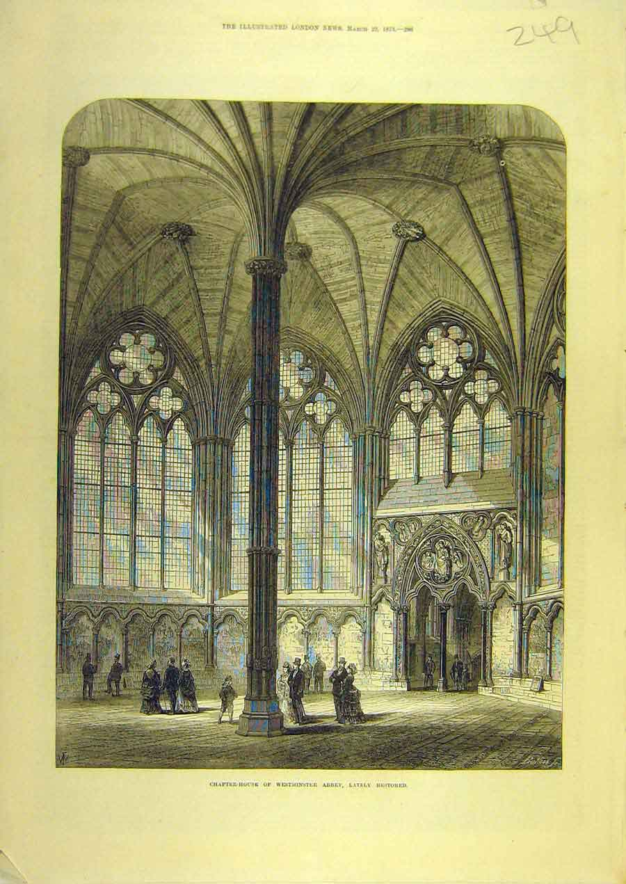 Print 1873 Chapter-House Westminster Abbey Restored Building 498741 Old Original