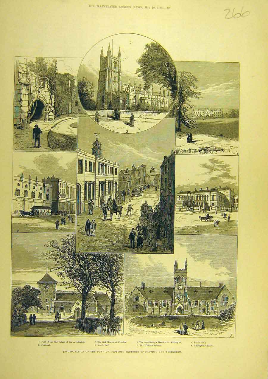 Print 1883 Croydon Addington Sketches Buildings Church Hall 668741 Old Original