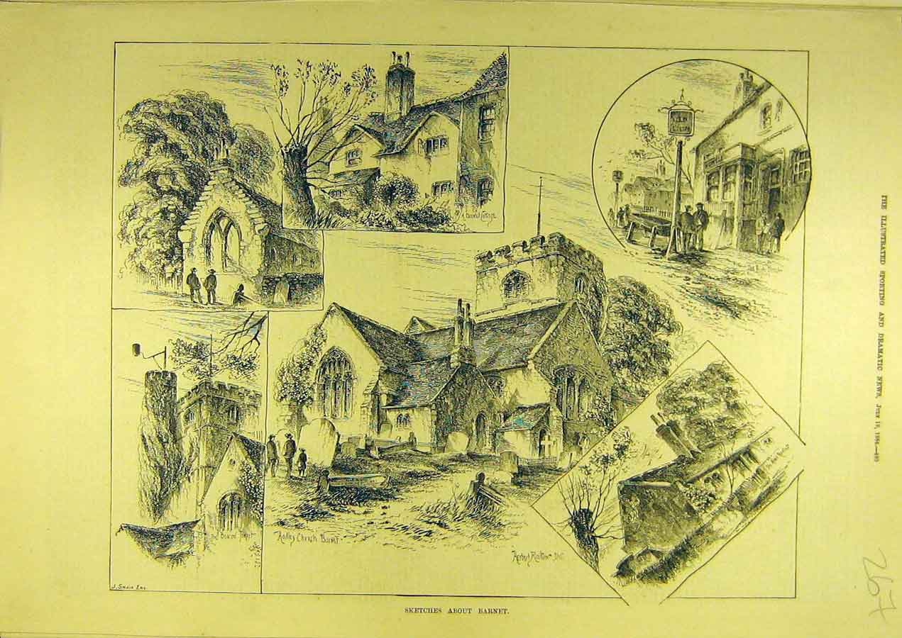 Print 1884 Sketch Barnet Building Village Hadley Church 678741 Old Original