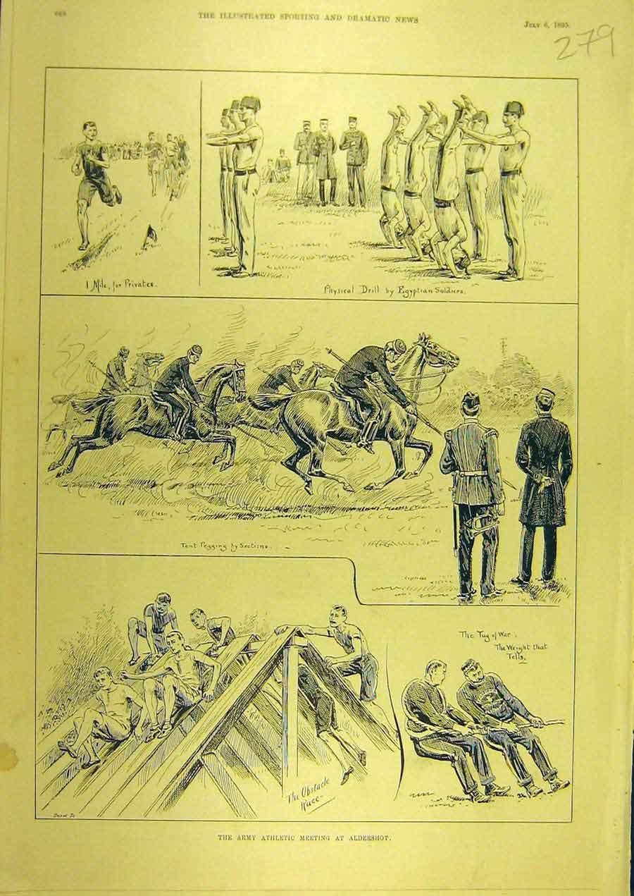 Print 1895 Army Athletic Meeting Aldershot Sport Military 798741 Old Original