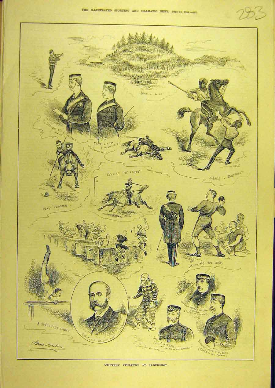 [Print 1884 Military Athletics Aldershot Sport 838741 Old Original]